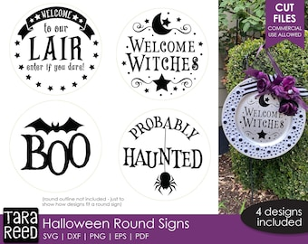 Halloween Round Sign SVG and Cut Files for Crafters