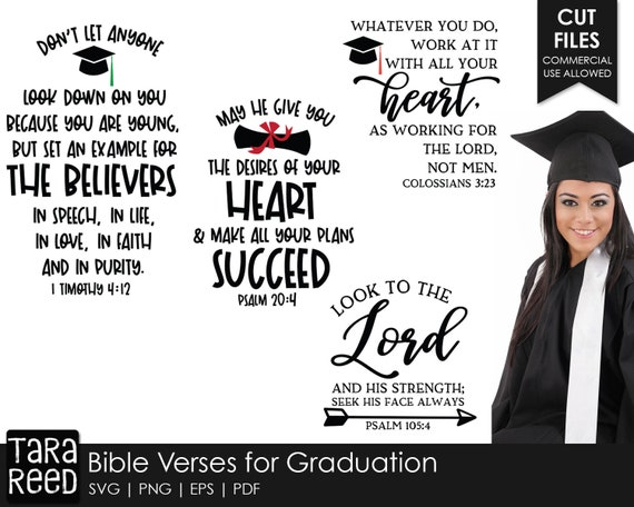 Bible Verses For Graduation Svg And Cut Files For Crafters Etsy