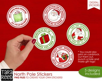 North Pole Christmas Print and Cut Stickers
