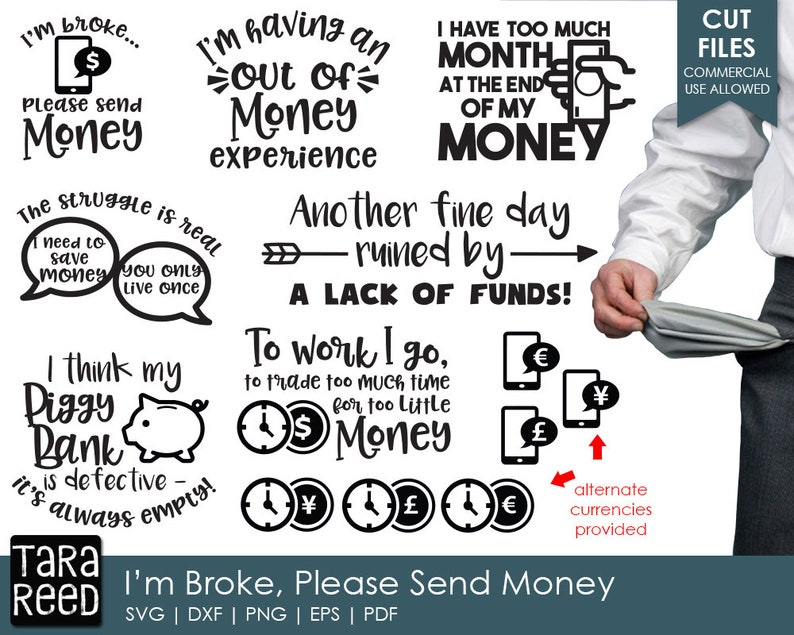 Download I'm Broke Please Send Money Money SVG and Cut Files for   Etsy