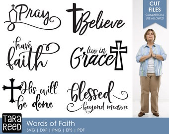 Words of Faith svg / Faith svg / Live in Grace svg / Religious svg / Christian svg / svg files / svg for Cricut / svg for Silhouette
