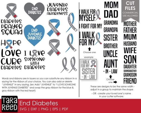 End Diabetes Diabetes Svg And Cut Files For Crafters Etsy