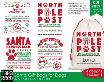 Santa Gift Bags for Dogs SVG and Cut Files for Crafters
