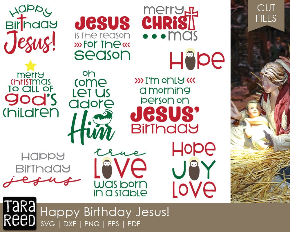 Happy Birthday Jesus Christmas SVG and Cut Files for | Etsy