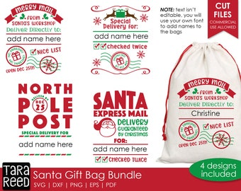 Santa Gift Bag SVG and Cut Files for Crafters