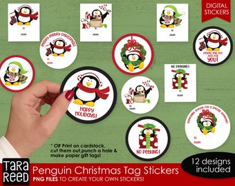 Penguin Christmas Gift Tags Print and Cut