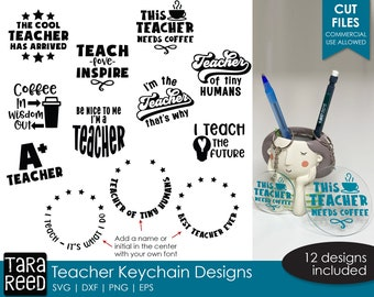 Teacher Keychain SVG and Cut Files for Crafters