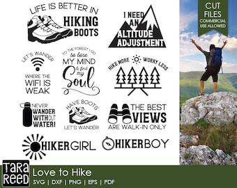 hiking svg / hiker svg / svg files / svg for cricut / svg for silhouette / svg bundle / love to hike svg / love hiking svg