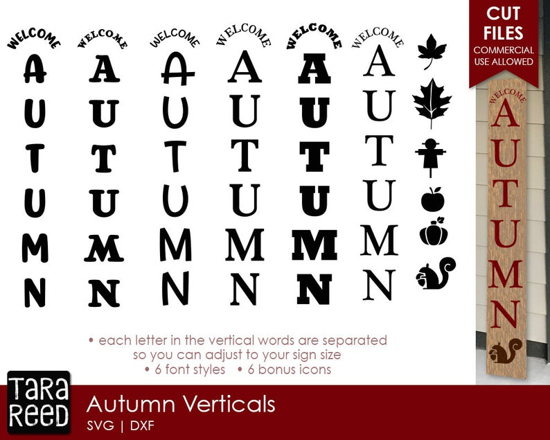 Autumn SVG Files for Crafters Autumn Vertical Signs
