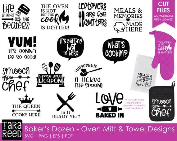 Baker S Dozen Oven Mitt And Towel Designs Kitchen Svg Etsy