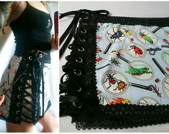 Totally Buggin - Baby Blue   Black Insect Print Lace Up Mini Skirt - L XL -  Handmade - One of a Kind c063f6335