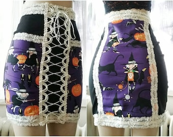 Witch Sass - Purple Black and Cream Lace Up Halloween Witch Skirt - Medium Small XS - Handmade One of a Kind