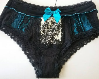Undead Undies - Large - Black and Blue Lacy Ruffle Zombie Panties