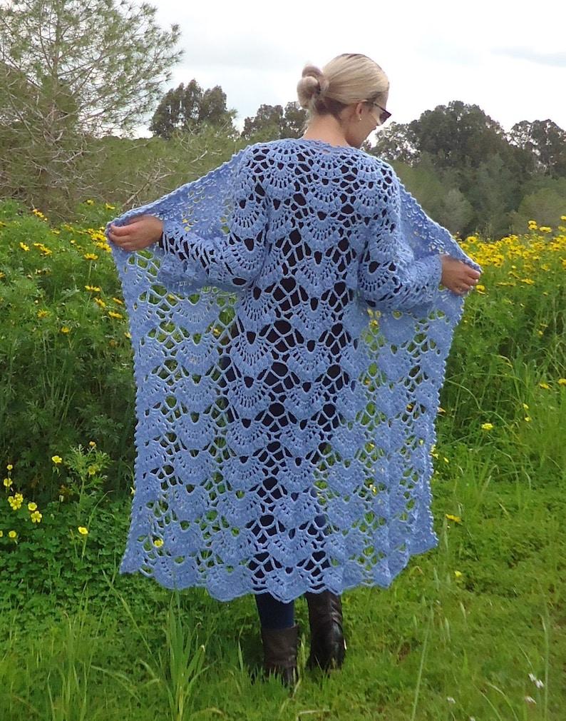 Handmade knit coat Sweater Knit long jacket Women Coat Women wool cardigan Wool knit jacket Hand knit outerwear Long Blue Cardigan