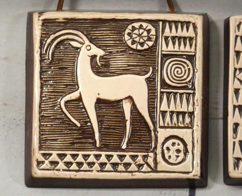 Ceramic Wall Decoration by T\u00f6reboda Sweden Zodiac Signs Libra Sagittarius /& Capricorn 1970s Scandinavian Home Decor Set of 3 Wall Plaques