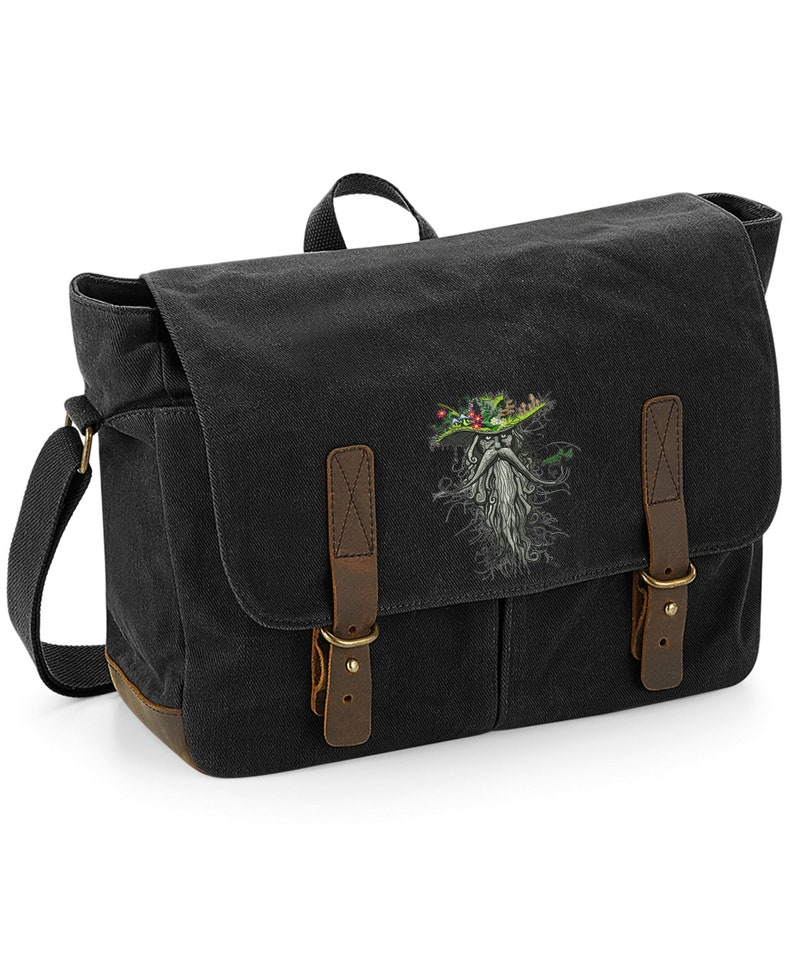 Heritage Waxed Canvas Laptop Bag Embroidered With a /'Root Man/' design available in Black or Olive Green