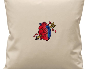 Be Still My Beating Heart Embroidered Natural Canvas Cushion Cover