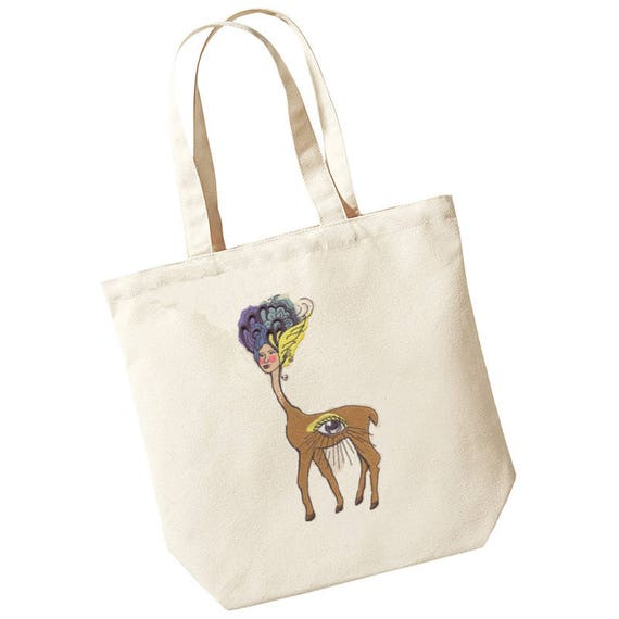 9bcec1659be Organic Cotton Sling Tote Bag Embroidered with a  Mythical