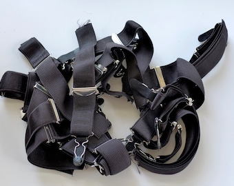 28mm Black Suspenders with silver fittings. Excess stock. Corsetry, Lingerie