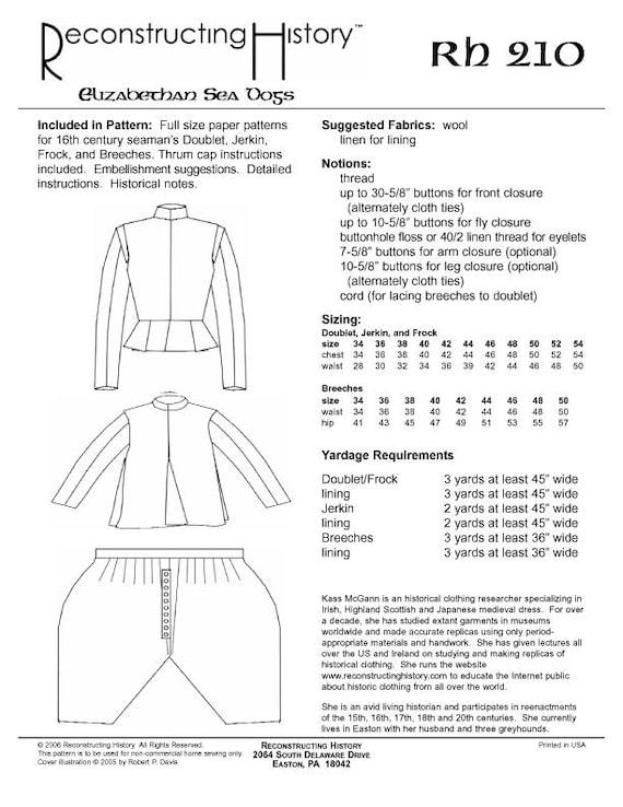 Costura de ropa de RH210 perros de mar isabelina siglo XVI | Etsy