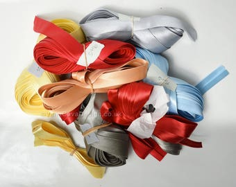 Big bundle of Duchesse Bias Binding in Many Colours. Roll ends 90m! Bargain. For Corsets, Corsetry etc REDUCED!