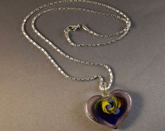 Solid Glass Swirl Heart Necklace on Silver Coloured Chain VALENTINE GIFT, Love heart