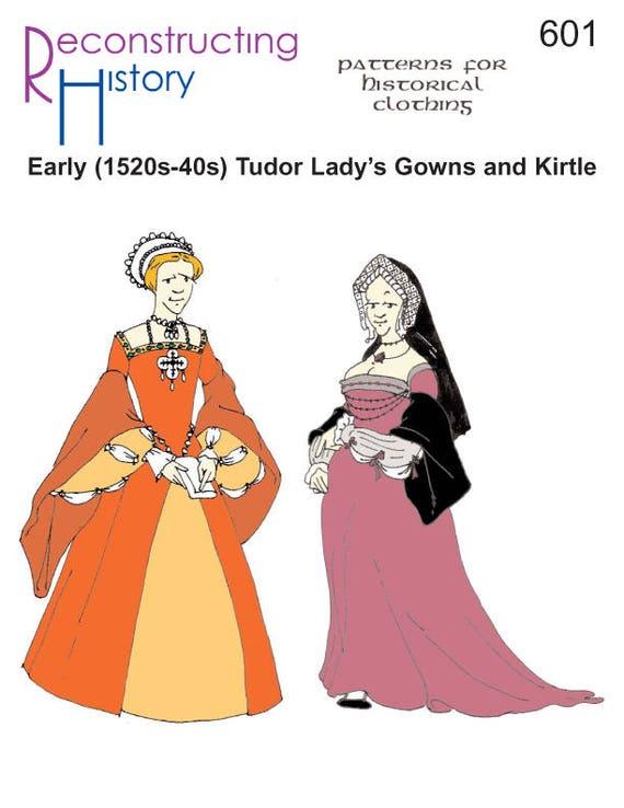 Vestido Kirtls historia de la reconstrucción de costura patrón | Etsy