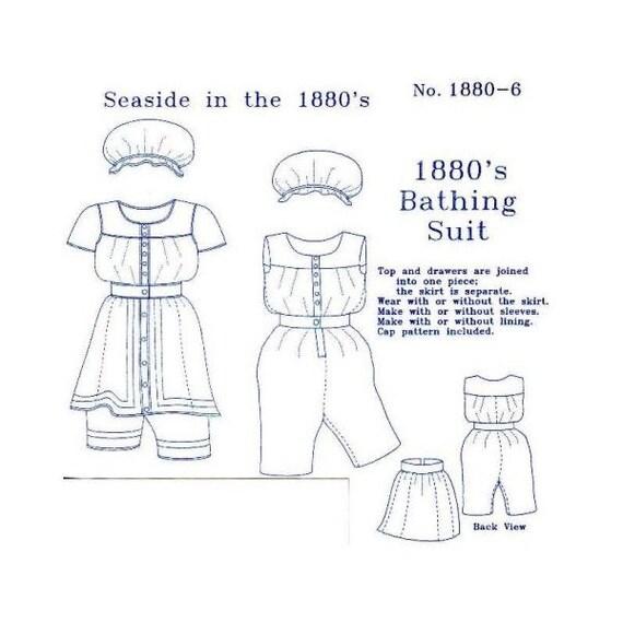 1880\'s Ladies\' Bathing Suit Pattern Victorian Sewing