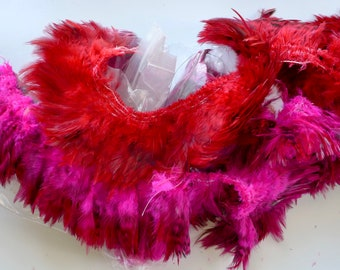 Rooster Feathers, Red or Cerise speckle