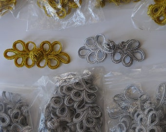 Gold and Silver Frogs for coats, jackets, costume, corsets etc