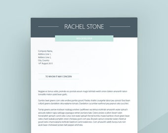 Professional Cover Letter Template Letterhead Word Simple Instant Download Matching Resume Available
