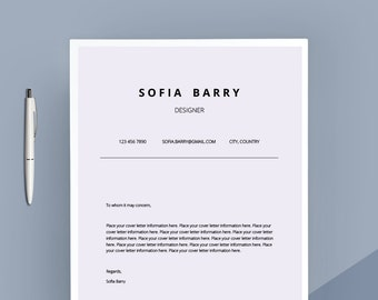 creative cover letter template cover letter letterhead word template simple cover letter instant download matching resume available