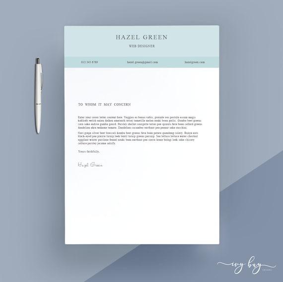 Moderne Anschreiben Anschreiben Briefkopf Word Vorlage Etsy