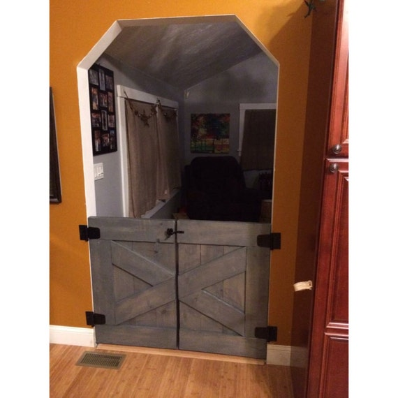 Custom Made Saloon Style Rustic Barn Door Baby Gate Gray