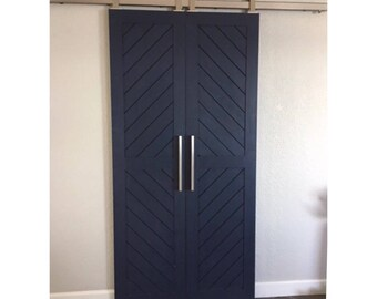 Chevron Designed Sliding Barn Door - Navy Blue