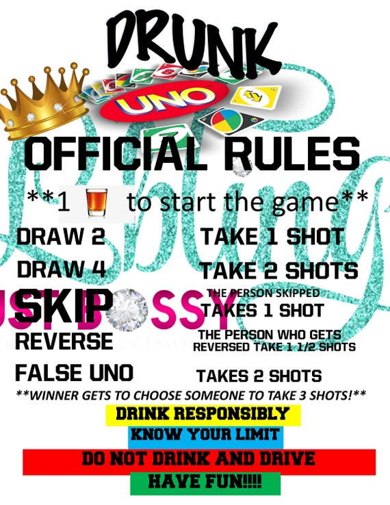 Uno Drunk Uno Game Rules Digital Format Instant Download Etsy