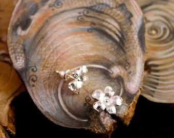 Flower earrings, sterling silver