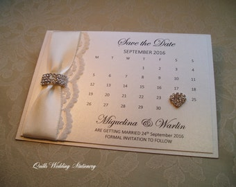 Save the Date card. Calendar Save the Date. Diamante and Lace. Luxury Save the Date card.