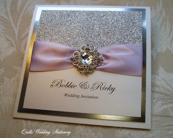 Crystal Palace. Silver and Lilac Wedding Invitation. Glitter Wedding Invitation with Crystal Brooch. Many Colour Options.