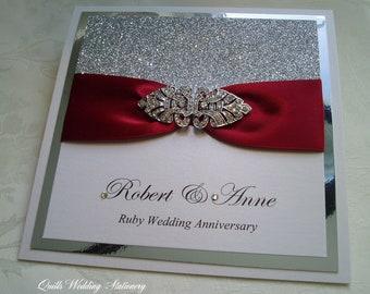 Wedding Invitation. Silver & Ruby Red Wedding. Diamante Brooch Wedding Invite. Winter Wedding.