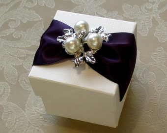 Beautiful Pearl and Diamante Decorated Wedding Favour. Bespoke. Various Colour Options.