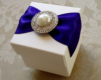 Round Pearl and Diamante Decorated Wedding Favour. Bespoke. Various Colour Options.