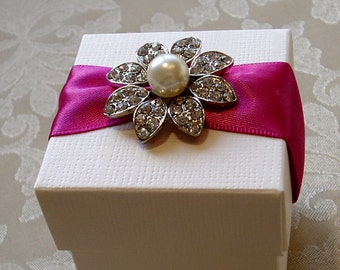 Striking Pearl and Diamante Flower Wedding Favour. Bespoke. Various Colour Options.