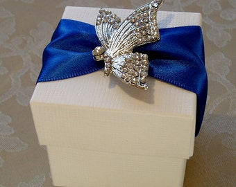 Enchanting Diamante Butterfly Decorated Wedding Favour. Bespoke. Various Colour Options.