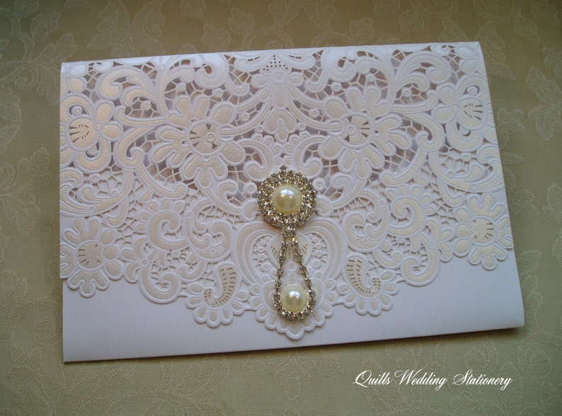 03cd718e5588 Finesse. Luxury Lace Pocket Wedding Invitation with Pearl and