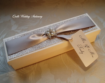 Luxury Wedding Certificate Box. Marriage Certificate Box. Luxury Wedding Pearl and Diamante Box. Gift Box.