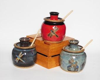 Impressed Dragonfly Honey Pot
