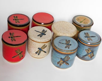 Butter Crocks/Butter Keepers Dragonfly Red,Blue,White