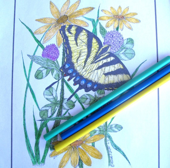 Butterfly Coloring Page Of Tiger Swallowtail Hand Drawn With Etsy