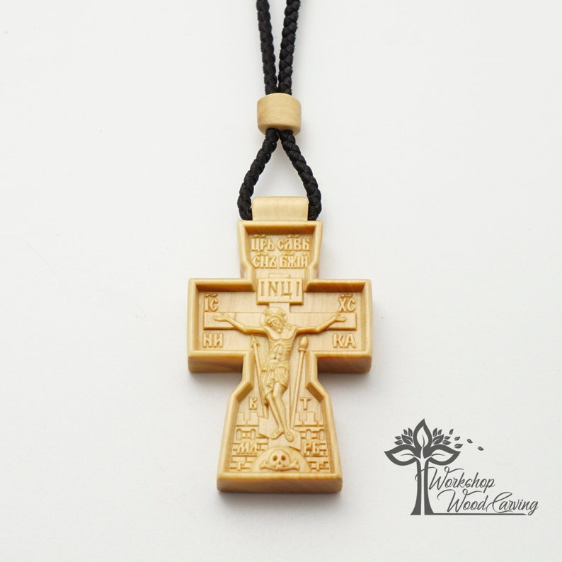 Orthodox Wooden Pectoral Cross Carved Out Of Boxwood